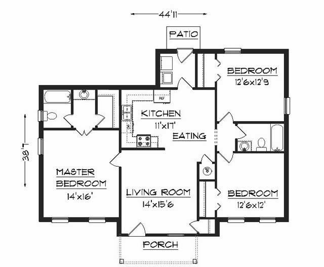 residential building elevation and floor plan 1