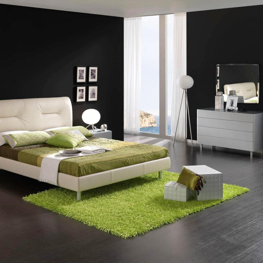sharp-black-and-white-bedroom-with-green-decoration