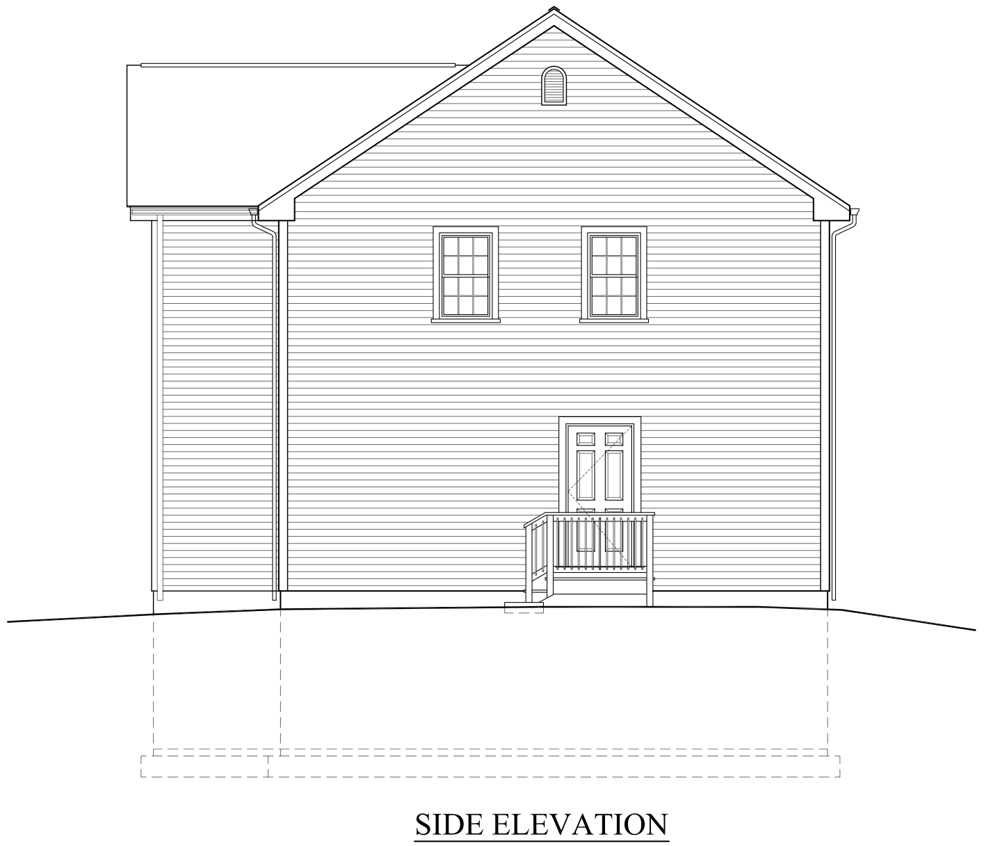 Front view elevation of house plans for Side view house plans
