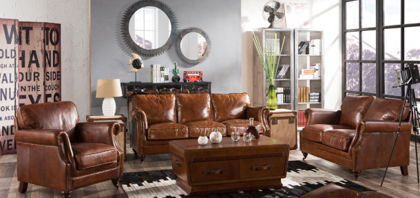 What are different types of leather sofas?