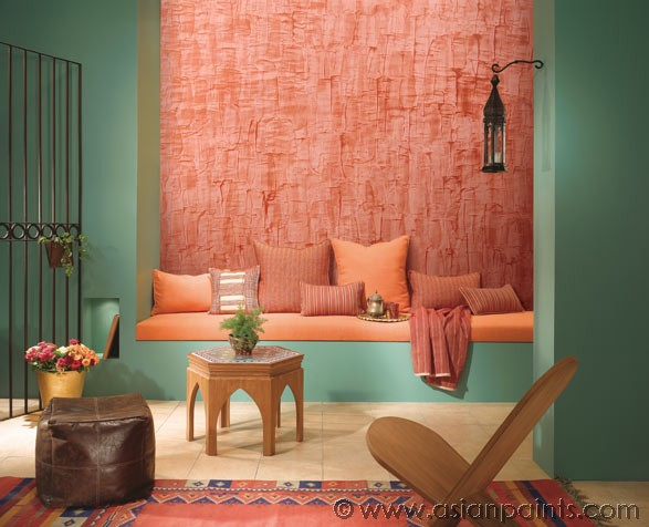 Texture paintings techniques for Wall designs for living room asian paints