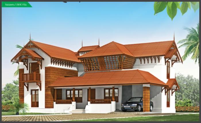 Nalukettu house plan and elevation