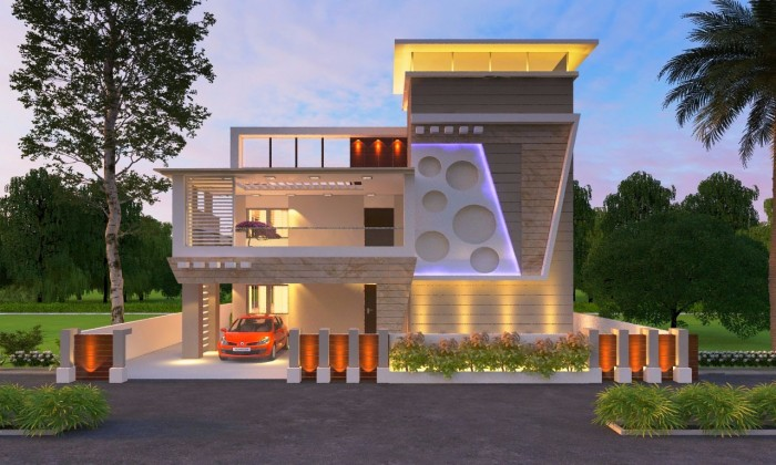 Gentil Modern 3D Indian Front Elevation Designs From Ghar360  2015