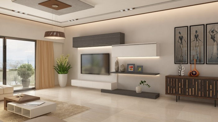 Living Room With Tv Unit Very Contemporary Exquisite Finish The Shape Of Modern Stand Or