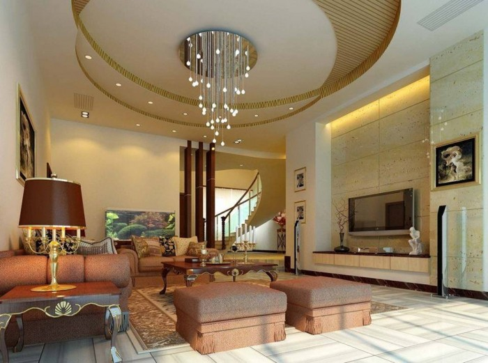 Living Rooms With Elegant Ceiling Lighting