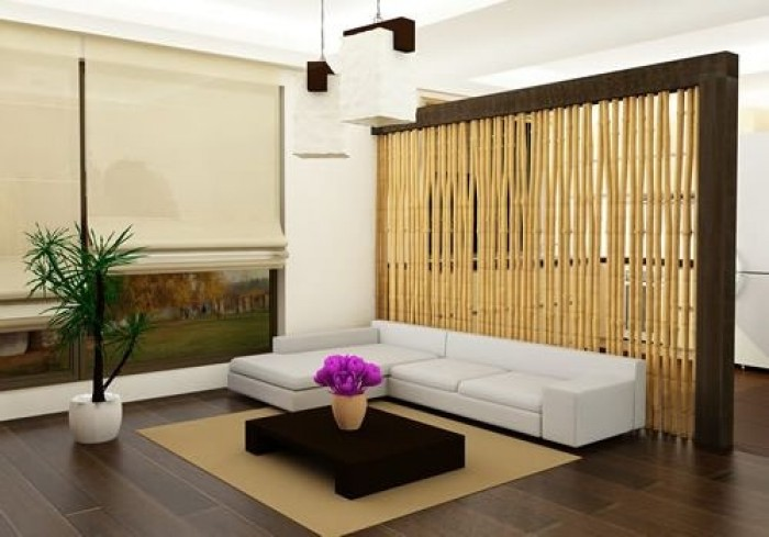 Modern Minimalist Living Room With Partition And TV Wall