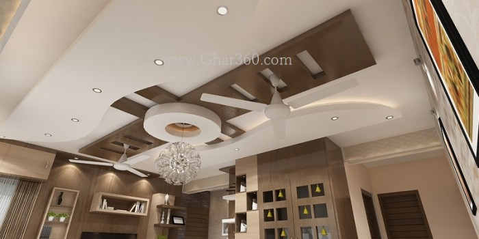 Living Room Ceiling With Wooden Texture .