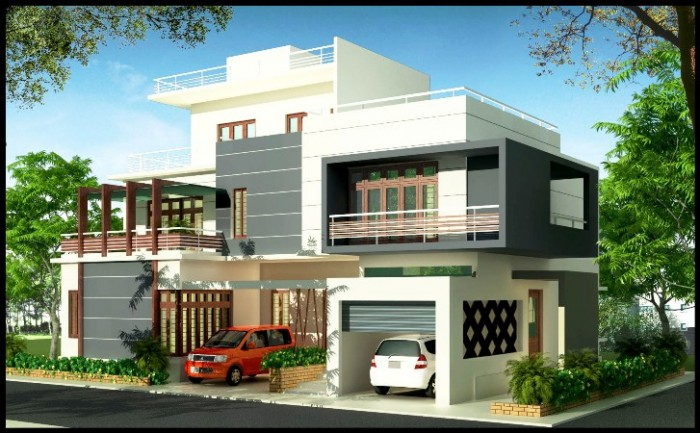 Triplex home elevation for Modern triplex house designs