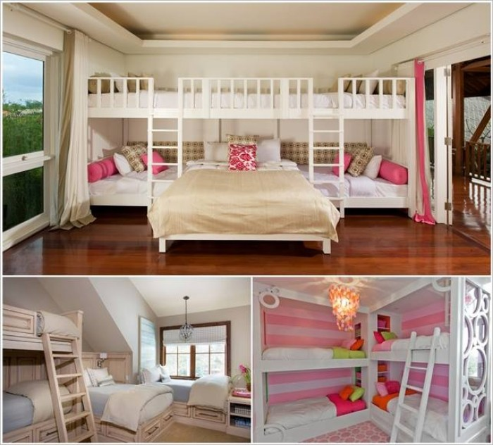 Bunk bed designs for four kids 4 beds in one room