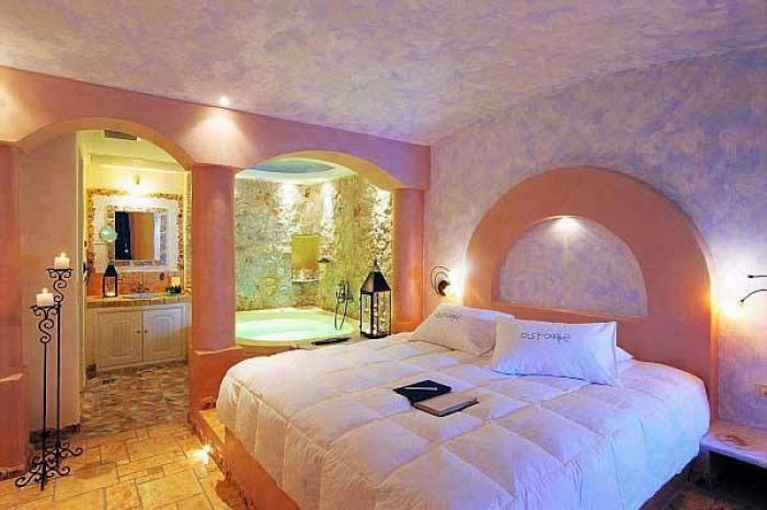 Delightful bedroom with spa for Spa bedroom designs