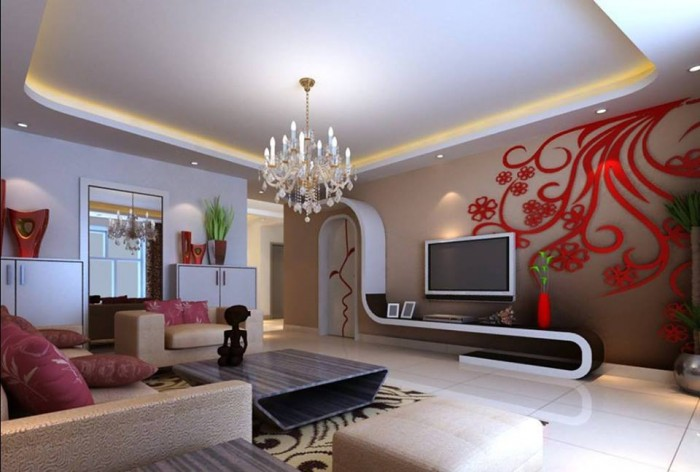 Exotic white red living room decorating idea for Room design 360