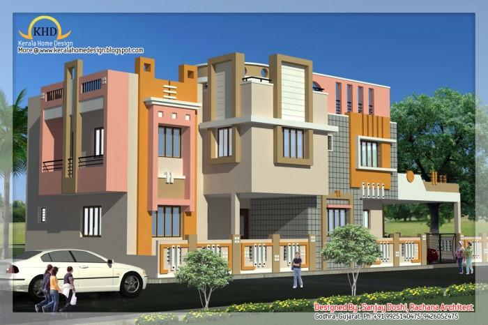 Modern beautiful duplex house design for Beautiful duplex house designs