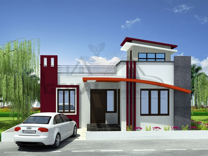 Single Floor Elevation Usa : Front house design single story home