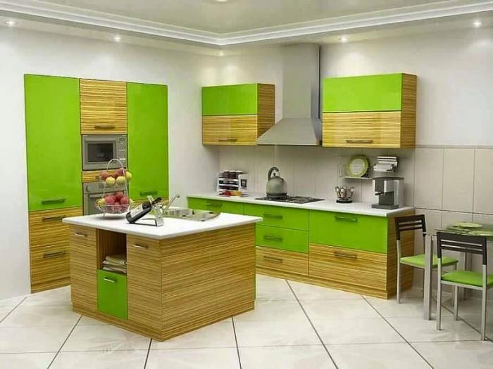 Modular kitchen layout yellow for Kitchen designs green