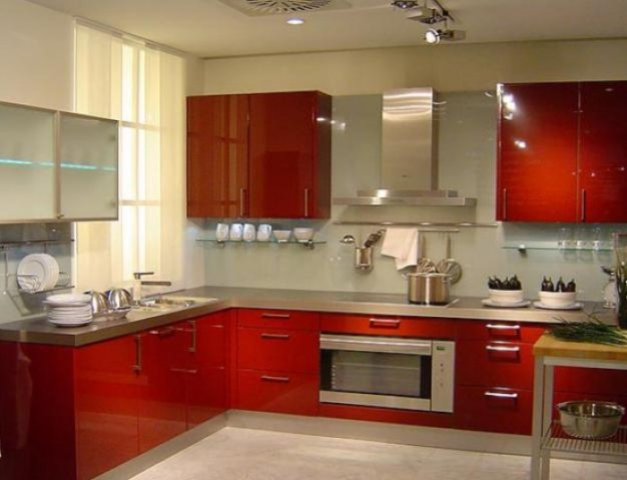 Modern indian kitchen interior design for Interior design of kitchen room in india