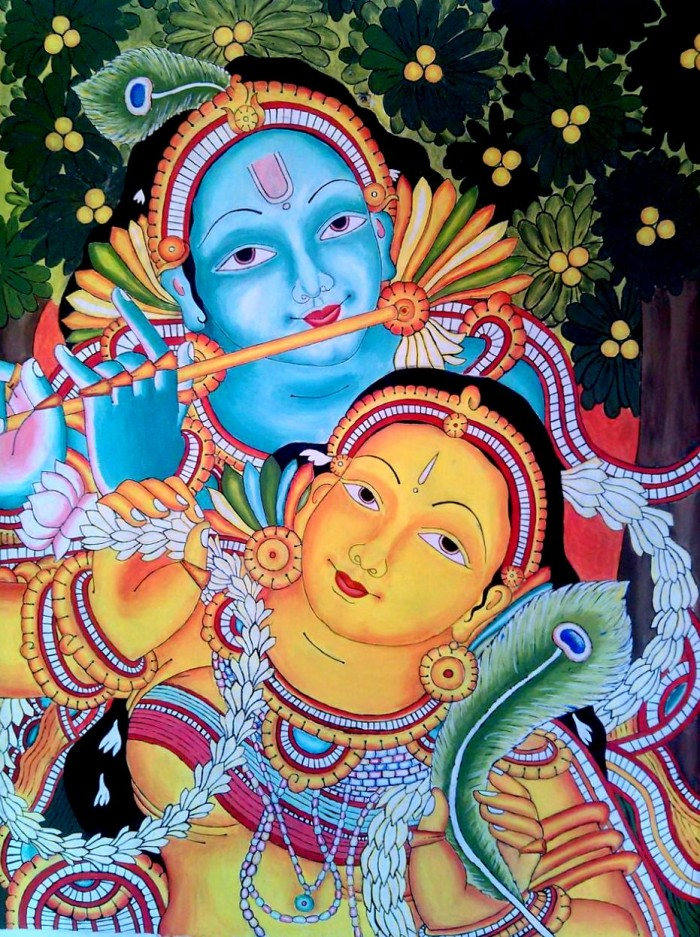 Krishna and radha wall mural art for Mural radha krishna