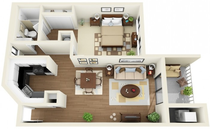 this contemporary one bedroom apartment has a small balcony