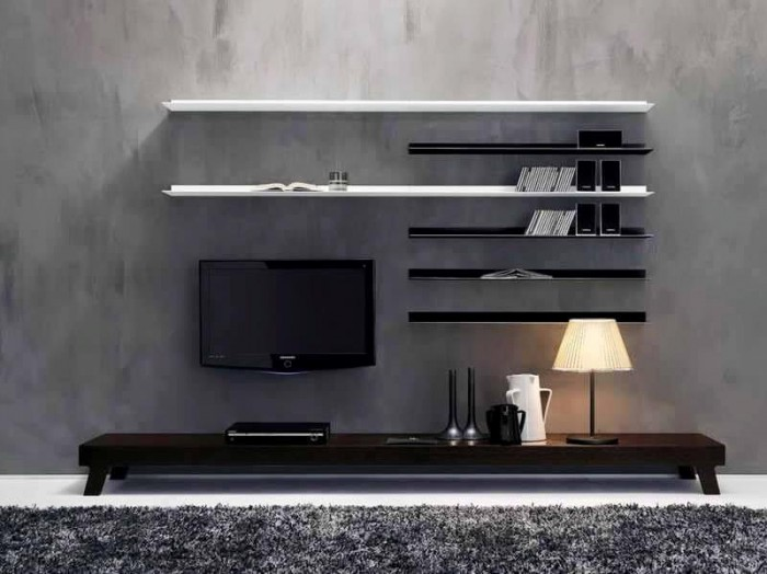 7 cool contemporary tv wall unit designs for your living room for Simple lcd wall unit designs
