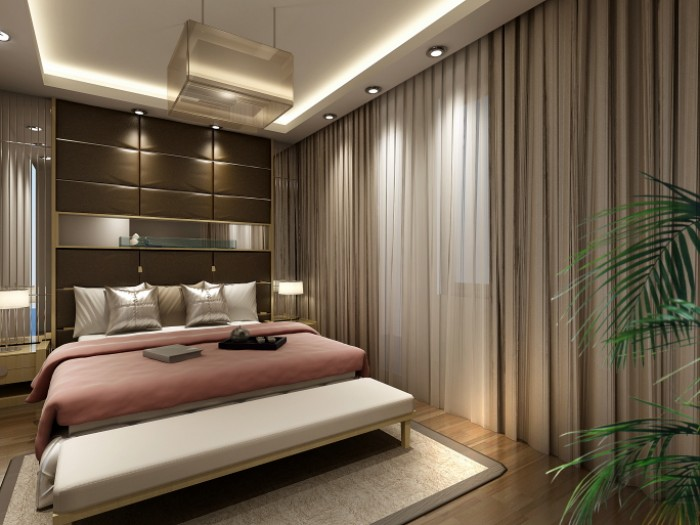 Master Bedroom With Pink White And Brown Color Scheme