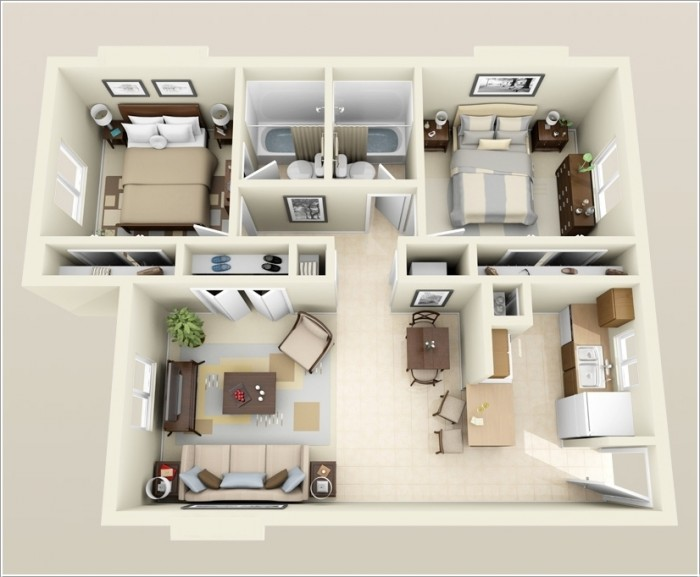 Ghar360 home design ideas photos and floor plans for Apartment 2 bedroom design