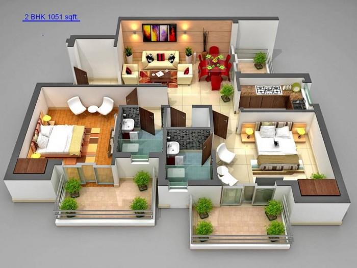 Ghar360 home design ideas photos and floor plans for 3 bedroom apartment interior design india
