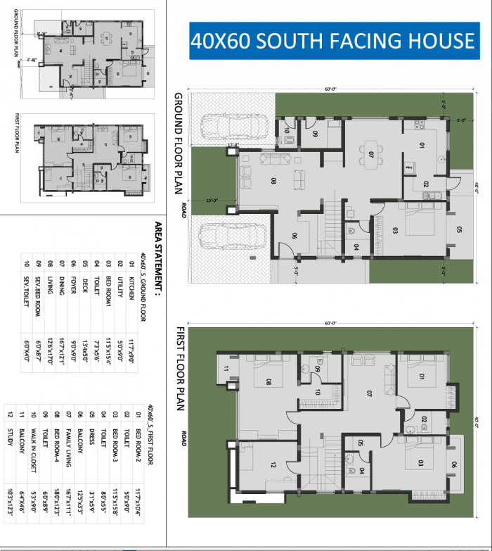 south facing house plans 30 x 60