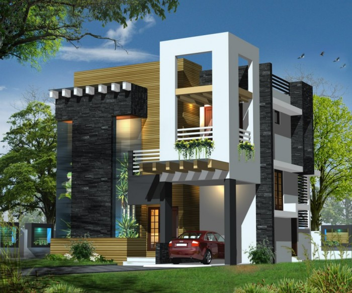 Modern front elevation for Indian house photo gallery