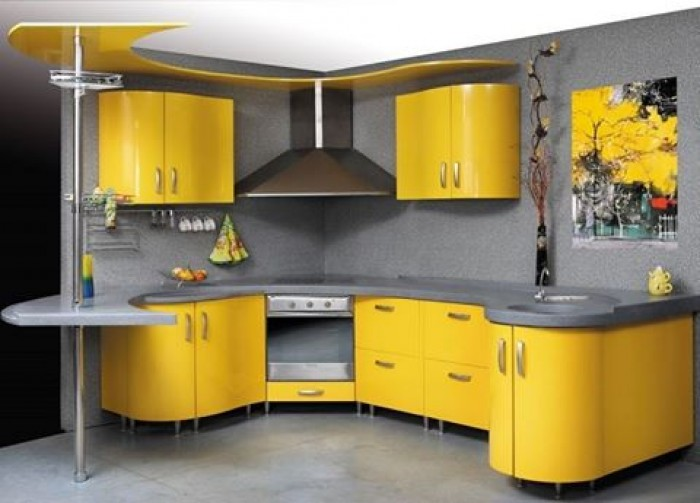 Amazing yellow kitchen design idea Kitchen design yellow and white