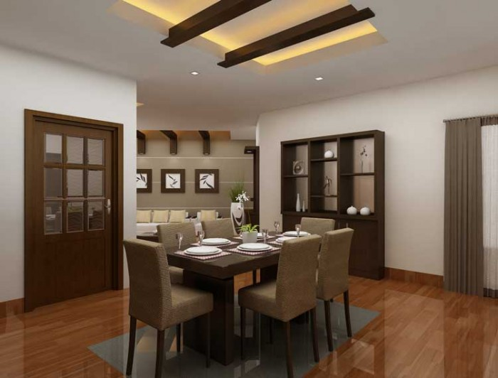 Indian dining room interior design for Interior design of living room with dining