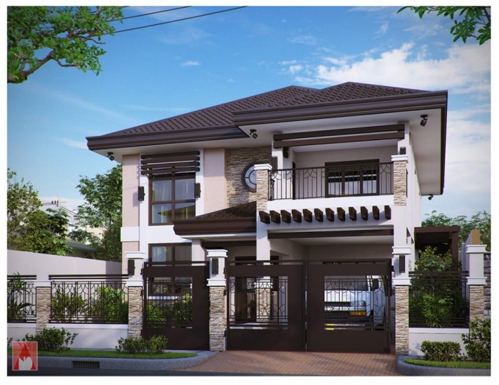 Modern residences exterior design idea for Two storey residential house design