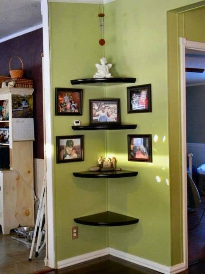 Creative wall corner shelves Living room corner ideas