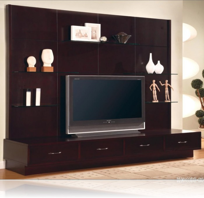 7 cool contemporary tv wall unit designs for your living room for Latest lcd wall unit designs