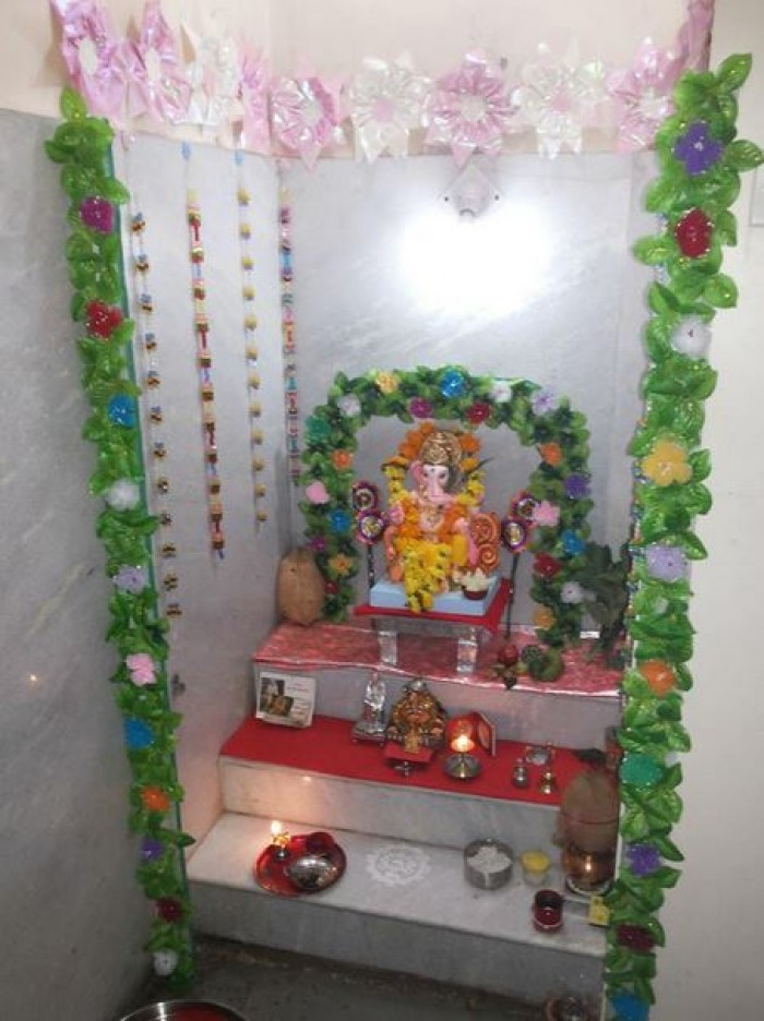 Simple Decoration For Ganesh Chaturthi At Home