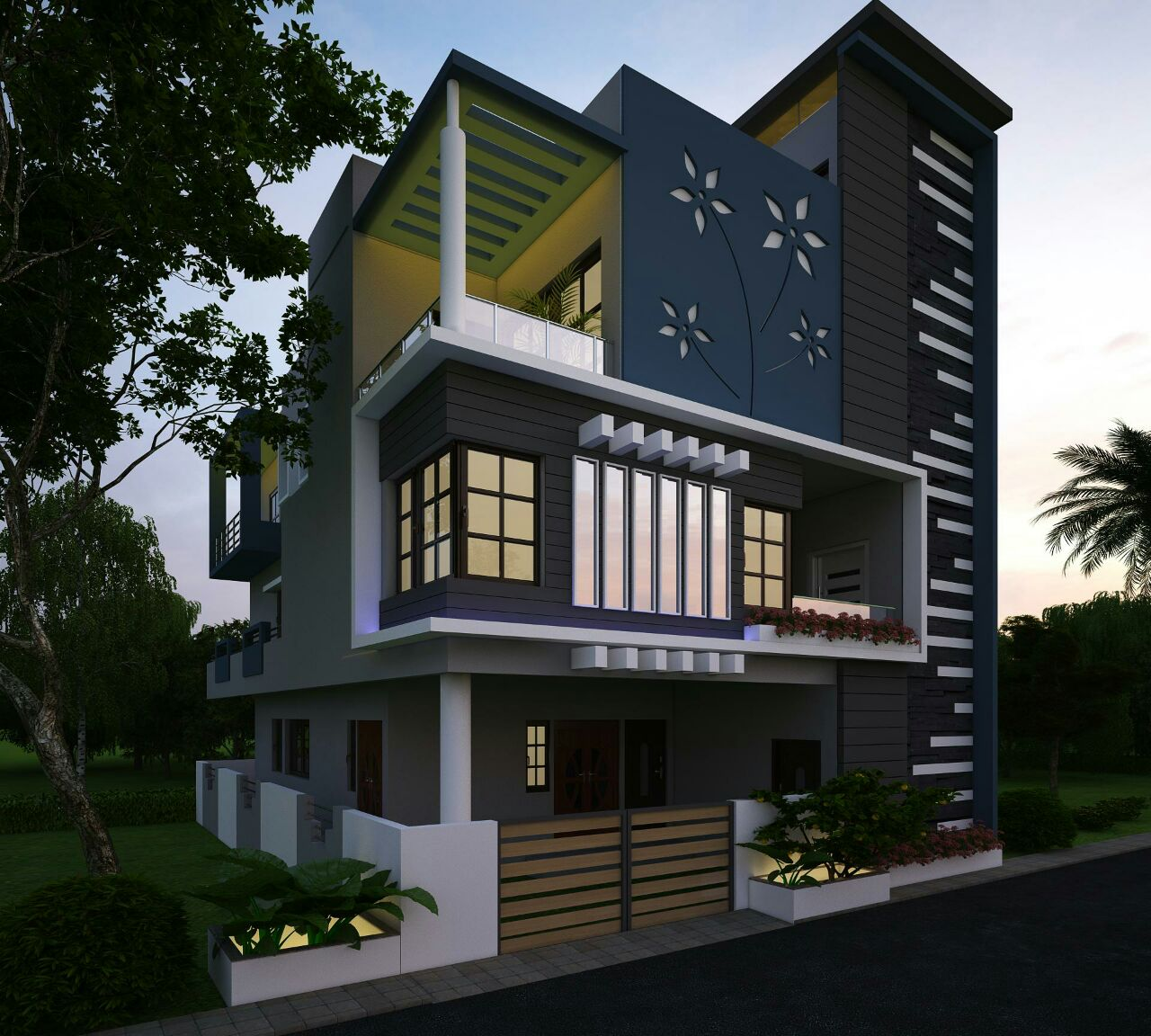 Front Staircase House Elevation : Latest house elevation designs
