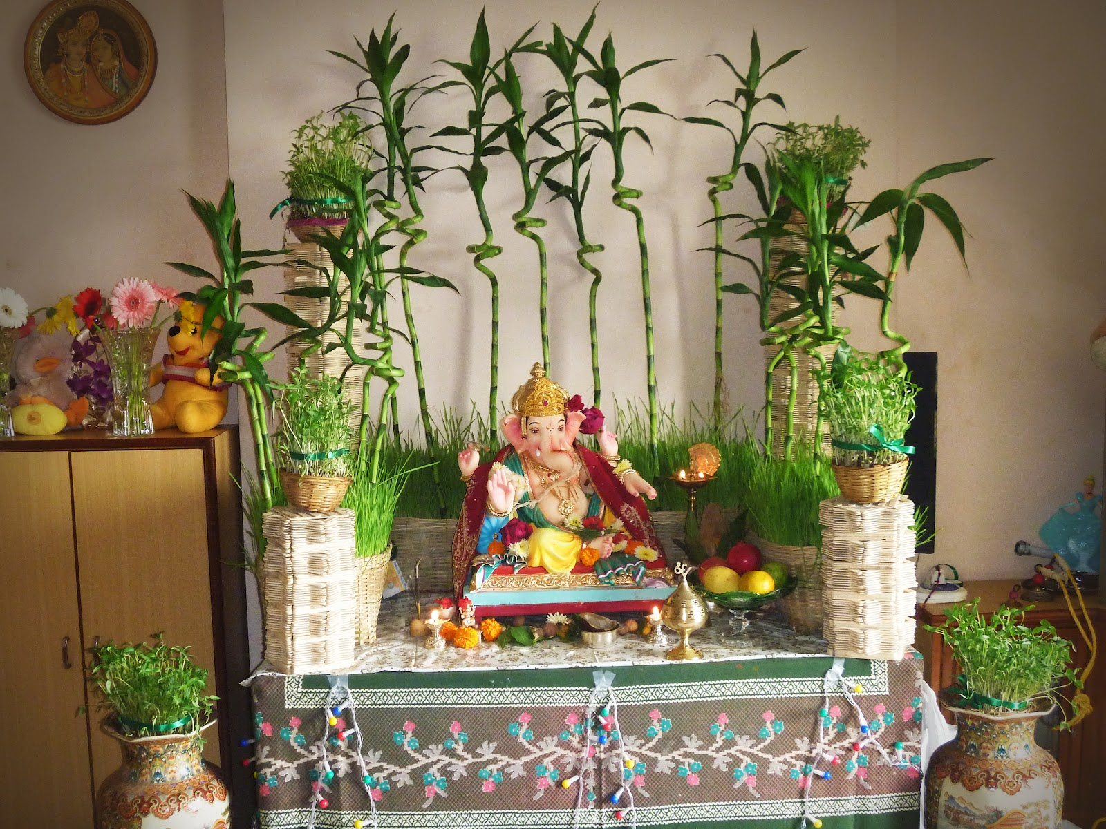 Ganesh chaturthi decoration ideas for home for Home decoration images